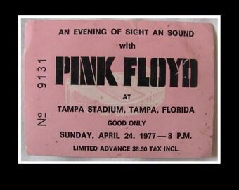 Pink Floyd 1977 In The Flesh (Animals) Tour Original Full 3/4 Concert Ticket 4.24.1977