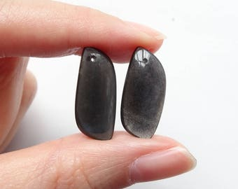 Black Moonstone Freeform Drops with Drilled Holes One Mismatched Pair J6373