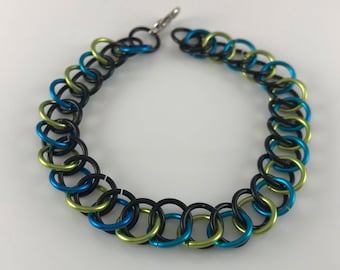 Sale 25% off Black Green and Blue Half Persian Chainmaille Bracelet