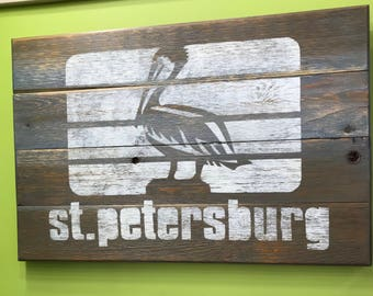 Rustic Wooden Cedar Sign 22 x 30 St Petersburg Florida