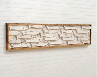 Framed Fish Art Minnow School Wooden Fish Wall Art Fish Decor Beach Decor Nautical Decor