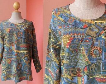 Novelty Blouse Summer Blouse 80s Clothing Vintage Blouse Print Blouse 1980s Blouse Women Polyester Blouse Japanese Blouse Long Sleeve Blouse
