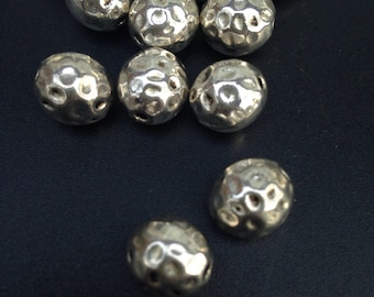 Large Hammered  Spacer Beads  Antique Silver Spacer 11 x 10 mm 1.8 mm hole Bohemian Beads 6  pieces
