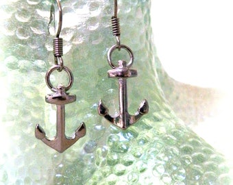 Nautical Anchor Earrings - Silver Plated - Mermaid Accessories