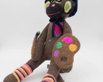 Artist Sock Monkey: Handcrafted with Alpaca Fiber and Fabric