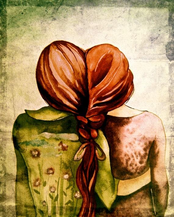 Red hair sisters best friend art print