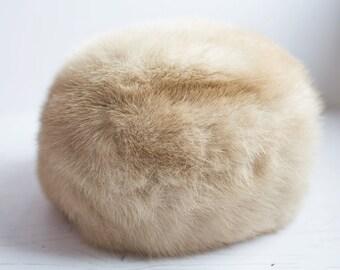 Vintage Blonde fur hat, Fur Hat, 1960's Fur Hat