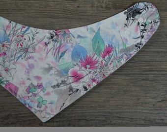 Bandana Bib - Watercolour Floral Print - Baby Girl Toddler Drool Bib