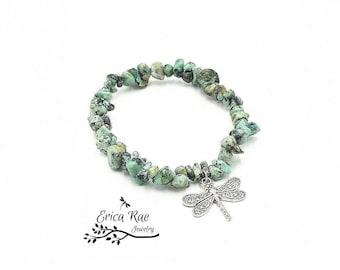 African turquoise bracelet, turquoise chip bracelet, stretch bracelet, Dragonfly bracelet, charm bracelet, boho bracelet, boho jewelry
