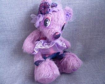 Ours d'artiste OOAK, articulé, laine, Burlesque, mauve violet - Miss FROU FROU - Artist bear, wool, lace, teddy bear plush, Toon eyes