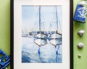 Original watercolor. Two sail yacht in old port limassol. Fine Art watercolour