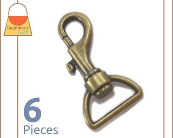"1 Inch Bolt Style Swivel Snap Hooks, Antique Brass / Bronze Finish, 6 Pack, Handbag Purse Strap Bag Making Supplies Hardware, 1"", SNP-AA048"