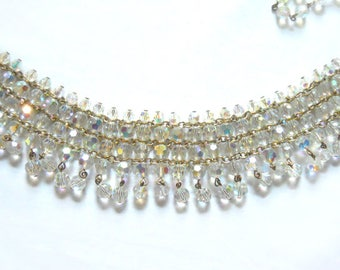 Vintage Clear Crystal Aurora Borealis Choker Necklace, Vintage Rhinestone Necklace, Rhinestone Jewelry from NewYorkMarketplace on Etsy