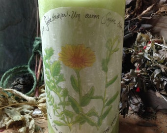 Healing Blessing Herbal Candle/Herbal Magic/Candle magic/candlemagic/Healing/marigold/Melissa/Yarrow