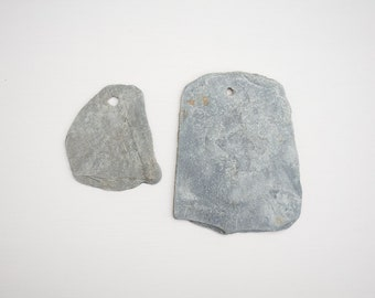 2x HOLEY SLATE PIECES, natural formed hole, large flat stone, natural mini chalkboard, unusual rustic blackboard, unique, stone for painting