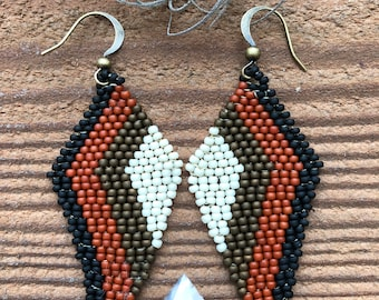 Bronze and Rust Seed Bead Earrings