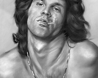 "jim morrison, the doors, rock group, original pastel painting 11""x14"""