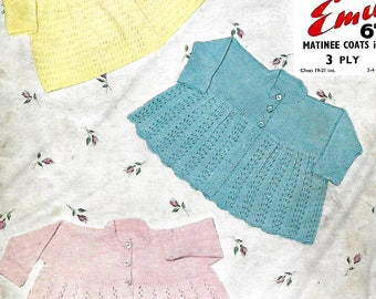 knitting pattern, baby matinee coats, sizes 19-21 in, pdf, digital download, instant download