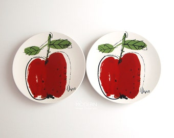 2 Vera Mikasa Japan Apple Forbidden Fruit Dinner Plates