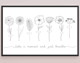 FLOWER ILLUSTRATION POSTER / 17x11 Wall Art Print