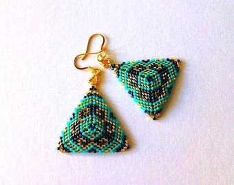 Earrings, beadwoven earrings, earrings blue turquoise gold