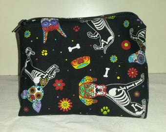 Small Skeletal Dog Makeup Bag