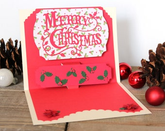 Handmade Pop Up Christmas Card, Merry Christmas, Off White Red, Holly Pointsettia, One of a Kind, Blank Inside