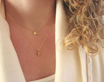 Layered gold necklaces, Itty Bitty Gold Disc and Gold Cone Necklaces, Gold Necklace Set, Layered Gold Pendants, 14K Gold necklaces