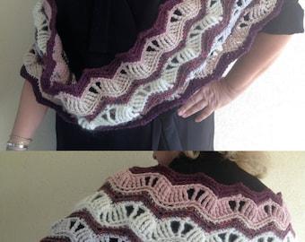 Wool crocheted snood / shawl