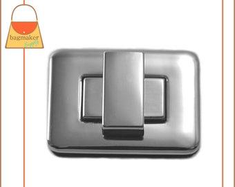 Rectangle / Square Turn Lock, Nickel Finish, Handbag Bag Making Hardware Supplies, Purse Closure, CSP-AA010