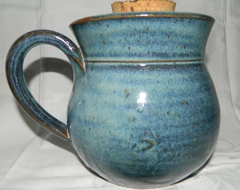 Container of blue stoneware glaze decoration shabby rustic 1950s
