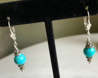 Round Turquoise and Sterling Silver Earrings