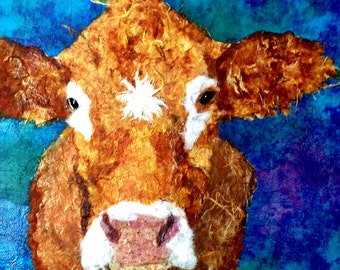 Print  How Now Cow  A smile for Mom on Mothers Day Giclee Print optional sizes  Blue  Square Art Farm Barnyard Bovine
