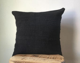DOUBLE SIDED with Insert - Black African Mudcloth Pillow ( Insert Included)  - Two Side - 2 Sides