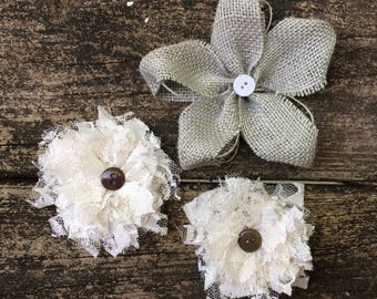Gray Burlap and Lace Flower Collection ~ Set of 3 ~ Farmhouse Decor ~ Country Wedding ~ Cake Flowers ~ Flower Girl ~ Rustic ~ Vintage