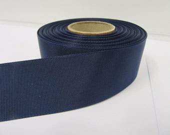 Grosgrain Ribbon 3mm 6mm 10mm 16mm 22mm 38mm 50mm Rolls, Navy, Dark Blue, 2, 10, 20 or 50 metres, Ribbed Double sided,