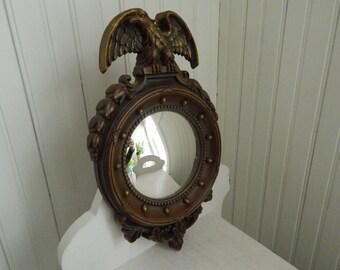 Convex Round Eagle Hall Mirror - Fish Eye Mirror - c.1945 Homco Hall Mirror - Bullseye Convex Round Mirror - Made in USA