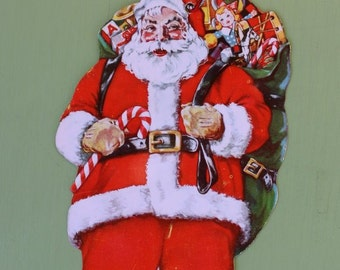Vintage Cardboard Die Cut Santa Figure with Toys Christmas Savings Club