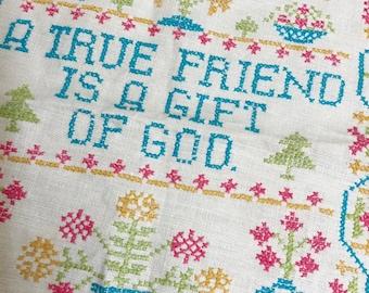 Friend  Sampler, Vintage Cross Stitch Sampler, Friends Gift