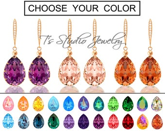 "CHOOSE YOUR COLOR Pear Shaped Crystal Bridesmaid Earrings - ""Mia"" - Rose Gold"