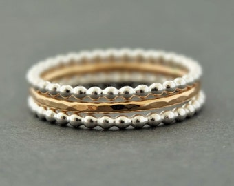 Gold Ring and Sterling Silver Rings 3 mixed metal stackable rings