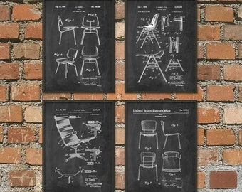 Eames Chair Patent Print Set of 4 - Furniture Design Patent - Furniture Invention - Charles Eames Chair Poster - Eames Plastic Chair Patent