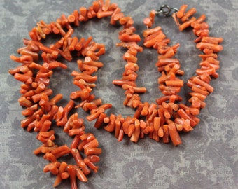 Vintage Orange Branch Coral Necklace with Sterling Silver Clasp