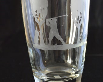 Drinking Glass Tumbler of Man Golfing A must have!!