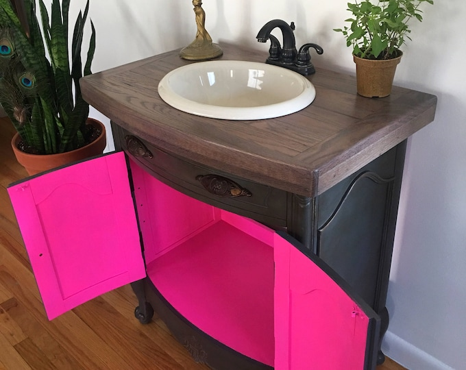 Bathroom vanity with sink and faucet handmade oak top  antique gray hot pink vibrant interior! Sink and faucet also included!