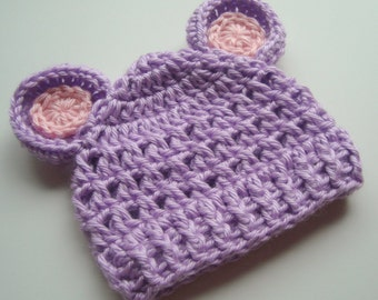 Baby Hat, Baby Girl hat, Crochet baby Hat, Hat with Ears, Infant Hat, Newborn Hat, Lavender and Pin, Newborn Baby Girl Hat, MADE TO ORDER