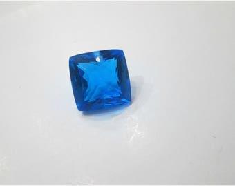 Sale, Sea Blue Topaz, Single Solitaire Focal, Faceted,  Square Shape, Pendant Necklace Focal, Gorgeous, Top Drilled