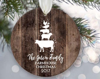 "Family of five Ornament Family Ornament Family of 5 Farmhouse Personalized Christmas Ornament Rustic ""wood"" Farm animal ornament OR855"