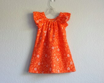 Girls Orange Flutter Sleeve Dress - Orange with White Flowers - Toddlers Orange Flannel Dress - Size 12m, 18m, 2T, 3T, 4, 5, 6 or 8
