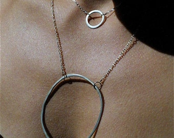 Extra Large Suspended Silver Hoop Necklace